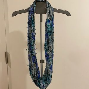 Blue abstract print infinity scarf for sale